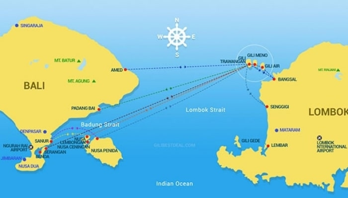 Gili Fast Boat Map Routes
