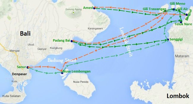 The Fast Boats Routes between Bali and Gili Islands or Lombok